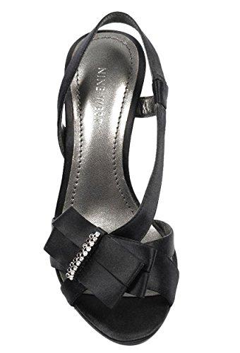 NINE WEST - Sandalias De La Correa De Honda De Trasera Mujer NWELSIA BLACK Tacón: 9 cm