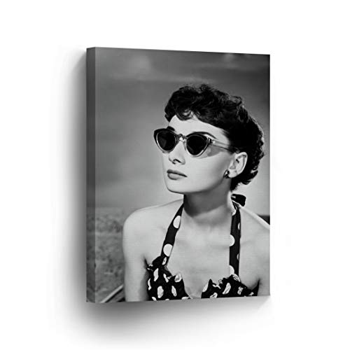 Audrey Hepburn Wall Art CANVAS PRINT Famous Cat Eye Sunglasses Black and White Iconic Decoration Modern Home Decor Stretched and Ready to Hang -%100 Handmade in the USA - ()