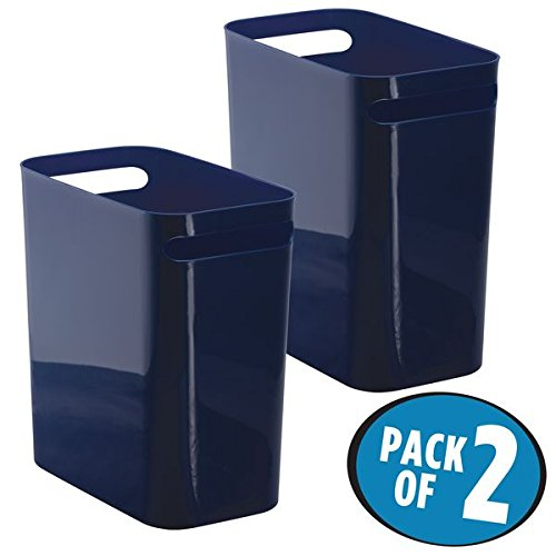 Wastebaskets Kids (mDesign Slim Rectangular Small Trash Can Wastebasket, Garbage Container Bin with Handles for Bathrooms, Kitchens, Home Offices, Dorms, Kids Rooms — Pack of 2, 12 inch high, Plastic, Navy Blue)