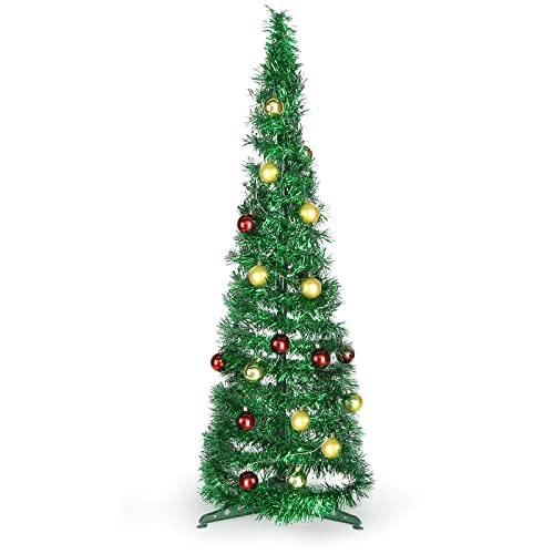 DomeStar 2.9Ft Tinsel Prelit Christmas Tree, Pop Up Artificial Pencil Slim Tree with 15PCS Christmas Balls for Xmas Decor Holiday Carnival Party Decorations