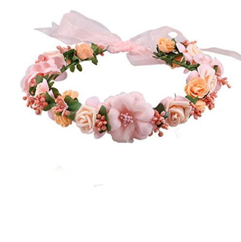 Vovotrade Wedding Hair Accessories Wrist Flower Garland Seaside Holiday Pictures (Pink)