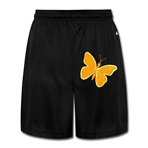 Men's Classic Orange Butterfly Short Pants Black Size - Wings Volkswagen Custom