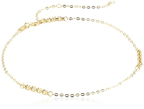 "14k Yellow Gold Italian Rolo and Box Chain Link Station Anklet, 9"" + 1.75"" Extender"