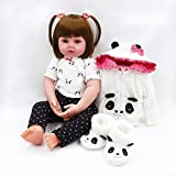 NKol Reborn Baby Dolls, Lifelike Realistic Newborn Weighted Baby Doll Girl with Panda Outfit (24Inch)