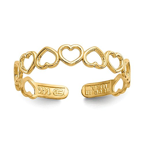 14k Yellow Gold Polished Open Hearts Toe Ring