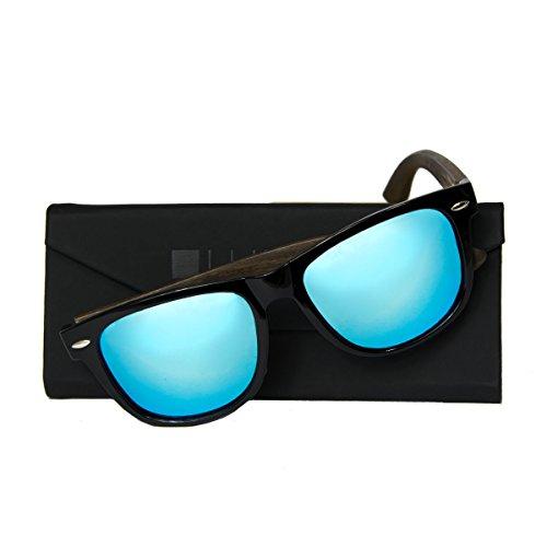 noir ICE en style branche de bois lunette WOLA rectangulaire bois soleil Bleu lunettes en w0XBxzT
