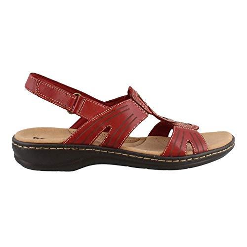 Womens Brown Rust Heels Sandals - CLARKS Women's Leisa Vine Red Leather 8 C US
