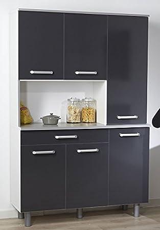 Mueble de cocina buffet 120 x 185 x 44 cm Vulkan, antracita resinas ...