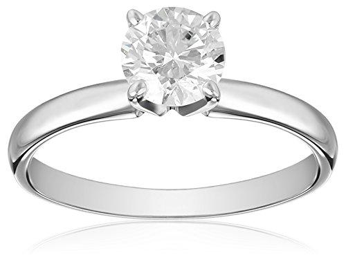 IGI Certified 14k White Gold Classic Round-Cut Diamond En...