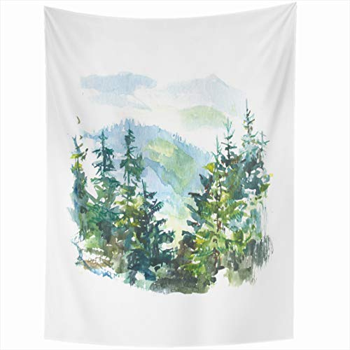 Tapestry Franciscan - AlliuCoo Wall Tapestries 50 x 60 Inches Blue Artistic Watercolor Landscape Pine Tree Forest Mountains White Green Beautiful Carpathian Home Decor Wall Hanging Tapestry Living Room Dorm