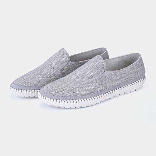 ZXCV Zapatos al aire libre Los zapatos de los hombres simples de los hombres perezosos cómodos salvajes respiran el ocio de los zapatos de lona Gris