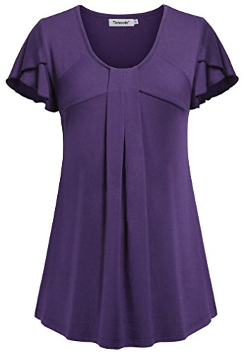 Plus Size Maternity Wear (Tencole Flowy Tops To Wear With Leggings, Plus Size Long Ruched Petite Shirts 2XL)
