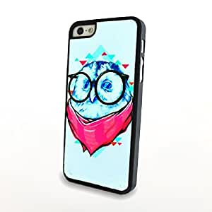 Generic Cute Owl with Glasses Matte Skin for iPhone 5/5s Hard Cover Carrying Back Plastic Case Blue