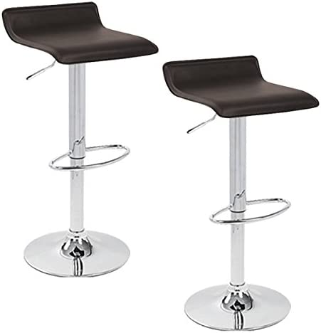 Ediors Faux Leather Contemporary Chrome Air Lift Adjustable Swivel Stools Bar Stools Set of 2 Brown