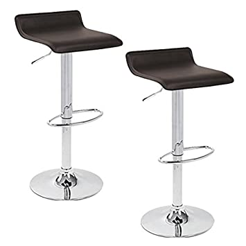 Apontus PU Leather Swivel Hydraulic Bar Stool with Back Cushion, Set of 2 Grey