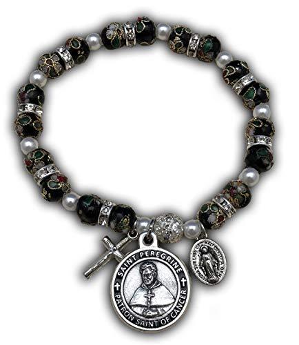 The Christian Mint, LLC St Peregrine Patron Saint of Cancer Stretch Bracelet w/Capsule of St Peregrine Soil (Black Cloisonné) (Patron Saint Of The Unemployed Job Seekers)