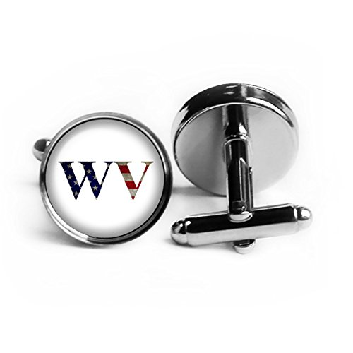 United States State Initials Flag West Virginia WV Rhodium Plated Silver Cufflinks