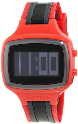 Activa By Invicta Unisex AA400-016 Black Digital Dial Red and Black Polyurethane Watch