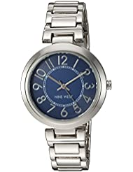 Nine West Womens NW/1893BLSB Easy To Read Dial Silver-Tone Bracelet Watch