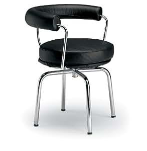 Fine Mod LC7 Swivel Arm Chair, Black Leather