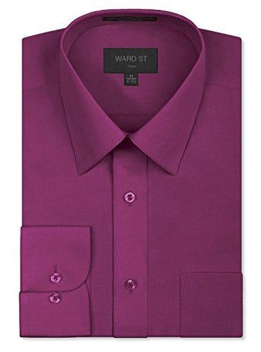 Ward St Men's Regular Fit Dress Shirts, XL, 17-17.5N 34/35S, Wine ()