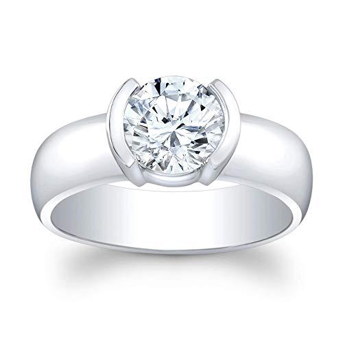 (Women's 2 carat Round White Sapphire half bezel engagement ring in 14 karat white gold)