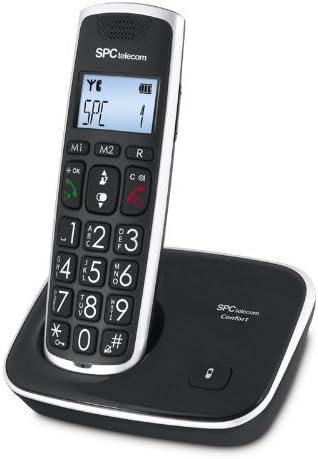 SPC Comfort Kaiser teléfono inalámbrico color negro con teclas y digitos grandes, compatible con audífonos, agenda de 20 nombres y números y manos libres: Spc-Telecom: Amazon.es: Electrónica