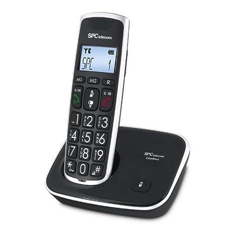 SPC Comfort Kaiser - Teléfono inalámbrico (identificación de llamadas, agenda de 20 nombres y números, pantalla iluminada, teclas grandes, ...