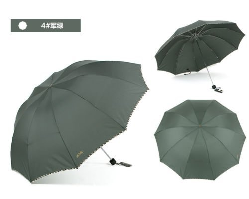 Green Fold Umbrella Mens Womens Rain Umbrella Windproof Anti-Uv Parasol by Umbrella Compact