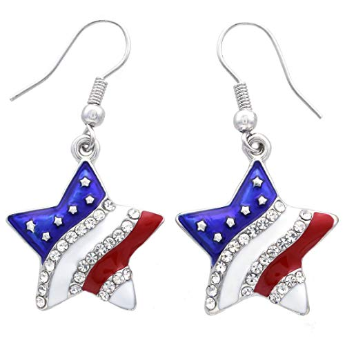 Patriotic Red White Blue American USA Flag Star Dangle Drop Earrings 4th of July Independence Day Gift (Star -