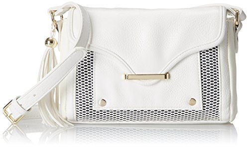 POVERTY FLATS by rian Mesh Detail Small Cross Body Bag, White, One Size (Flats Poverty)