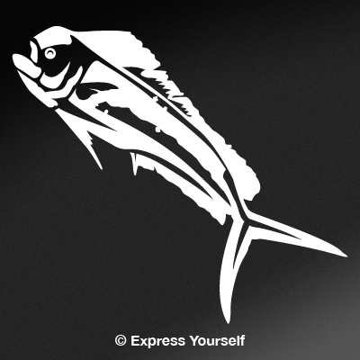 (Express Yourself Products Mahi Mahi (White - Image Facing as Shown - Small) Decal Sticker - Saltwater Fish Collection)