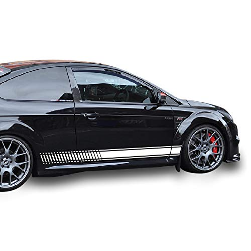 Bubbles Designs 2X Lowered Side Stripes Decal Sticker Vinyl kit Compatible with Ford Focus ST RS Mk2 2005,2007,2008,2009 (Best Exhaust For Focus St Mk2)