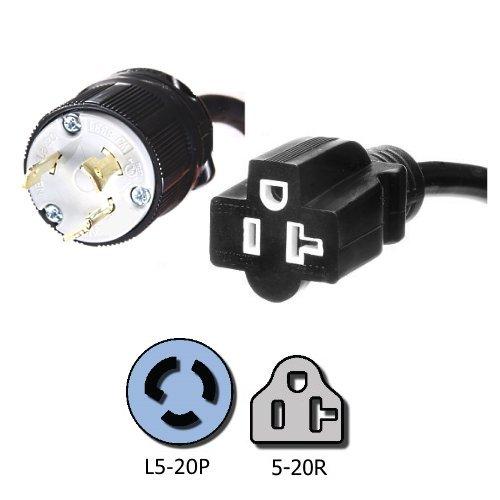 NEMA L5-20P to 5-20R Plug Adapter - 1 foot, 20A/125V,
