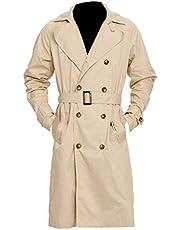 Aus Eshop Mens Supernatural Castiel Misha Collins Costume Beige Cotton Trench Coat