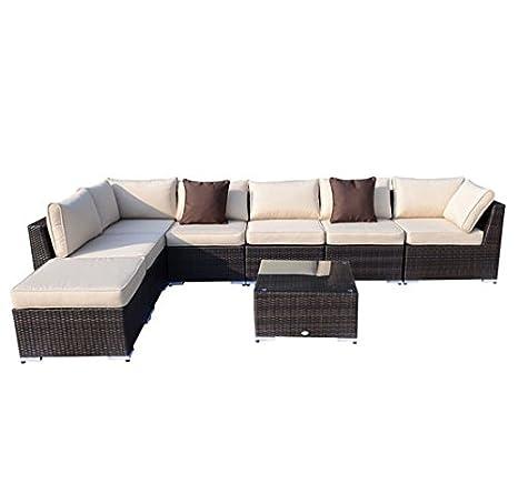 Outsunny Muebles de Ratan 25 Piezas Set de Sofa y Mesa de Jardin y Terraza