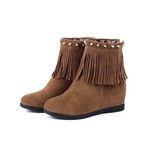 AgooLar Women's Solid Imitated Suede Kitten-Heels Zipper Round Closed Toe Boots Brown zi4fPf6C