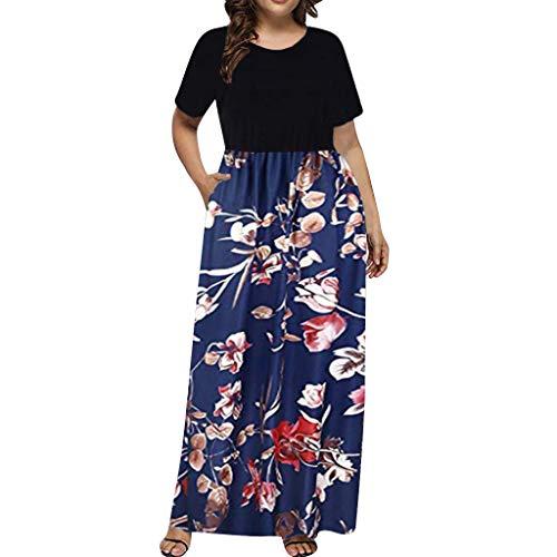(aihihe Women Short Sleeve Loose Plain Casual Plus Size Long Maxi Dress with Pockets L~5XL(Blue2,XL))