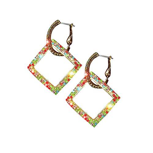 DDLmax Diamond Hoop Earrings for Women Girls, Temperament Geometric Square Diamond Waterdrop Earrings Ladies Jewelry (White Gold Cz Leverback Earrings)