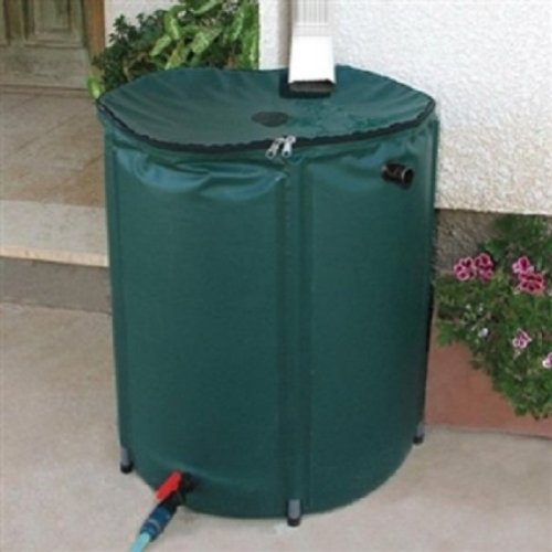 Collapsible 50-Gallon Rain Barrel with Zippered Top in Green Color by Fast Furnishing