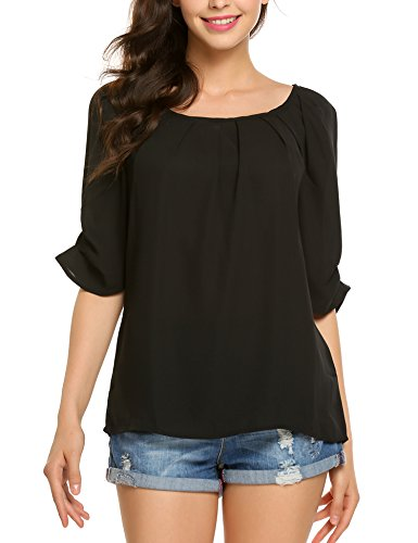 Women's Chiffon Elbow Sleeve Scoop Neck Pleated Blouse Tops, Black, Large