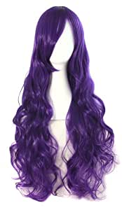 "MapofBeauty 32"" 80cm Long Hair Spiral Curly Cosplay Costume Wig (Dark Purple)"