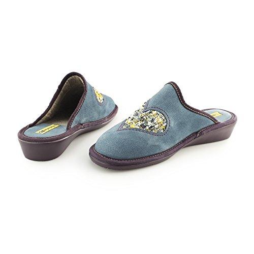 Di afelpado Pantofole Cuore A Blu Benzina Della Delle Pelle Signore 8130 Nordikas Scamosciata 8xpH4q