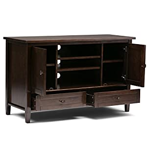 Simpli Home Warm Shaker Solid Wood TV Media Stand, Tobacco Brown