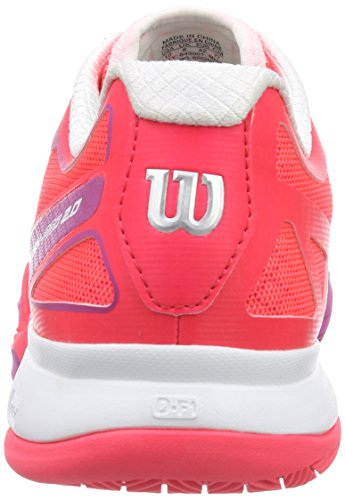 Wilson Rush Pro 2.0 Clay Court, Zapatillas de Tenis Unisex Adulto Multicolor (Rojo / Rosa / Blanco 700)