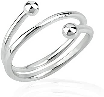 925 Sterling Silver Round Balls Thin Line(s) Wrap Around Band Knuckle Midi or Thumb Ring Sizes 2-3, 4