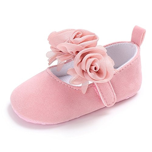 Baby Girls Princess Shoes Rose Flower Soft Sole Anti Slip Dress Shoes Mary Jane Flat