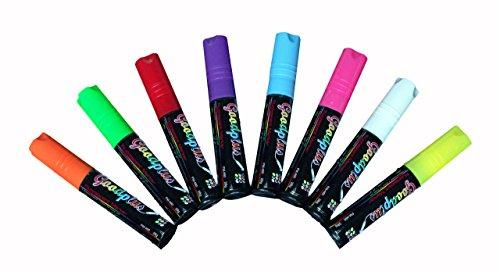 """Displays2go Set of 8 Liquid Chalk Wet Erase Markers, 3/8""""..."""