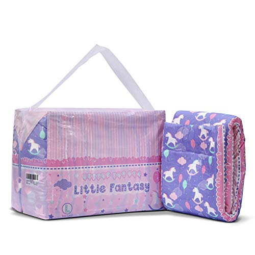 Littleforbig Printed Adult Brief Diapers Adult Baby Diaper Lover ABDL 10 Pieces - Little Fantasy(L)
