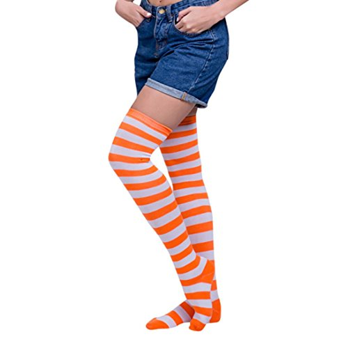 HOT, AIMTOPPY Striped THIGH HIGH SOCKS Over Knee Girls Womens Halloween Cosplay New (orange B) -